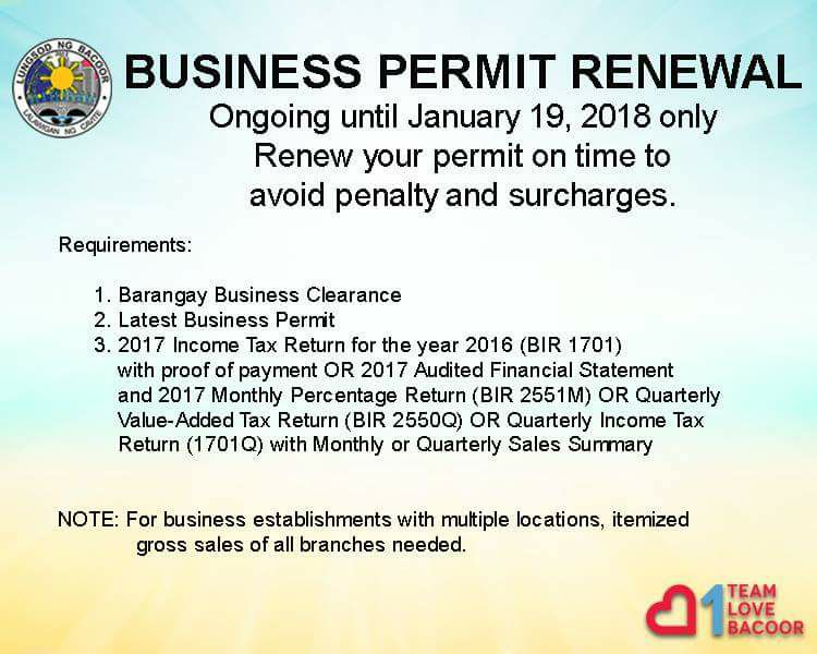 Business Permit Renewal Ongoing Until January 19 2018 Only Gt See More Bacoor Government Center